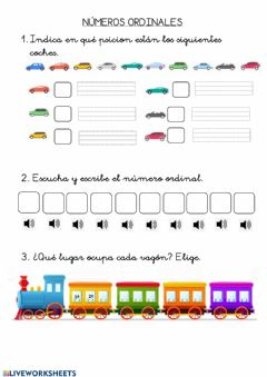 Interactive worksheet Números ordinales 2