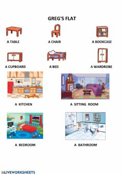 Interactive worksheet Greg's flat (furniture and rooms) - Happy Street 1