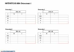 Interactive worksheet Multiplicaciones ABN I