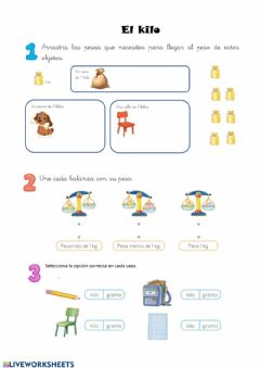 Interactive worksheet Kilo y gramo