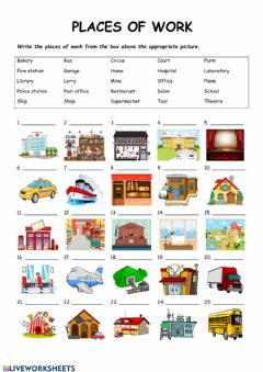 Interactive worksheet Places of work