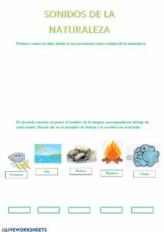Interactive worksheet Sonidos de la naturaleza y animales