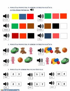 Interactive worksheet Exercise Numbers to 10 Colours