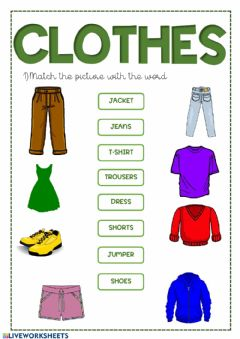 Interactive worksheet Clothes and colours