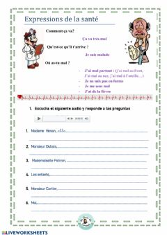 Interactive worksheet J'ai mal à ll