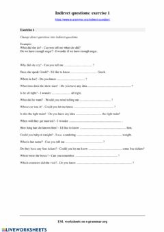 Interactive worksheet Indirect questions