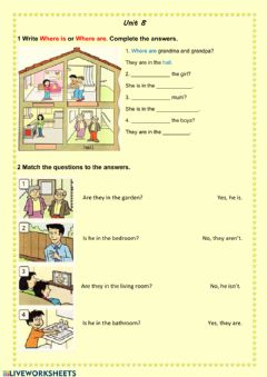 Interactive worksheet Questions-Where is-Where are?