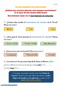 Interactive worksheet Movimiento de rotación