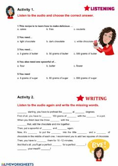 Interactive worksheet Chocolate coulant Recipe