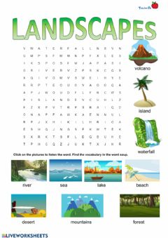 Interactive worksheet Landscapes wordsearch