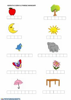 Interactive worksheet Vocaboli