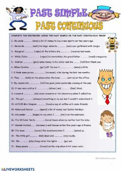 Interactive worksheet Past tenses, when and while