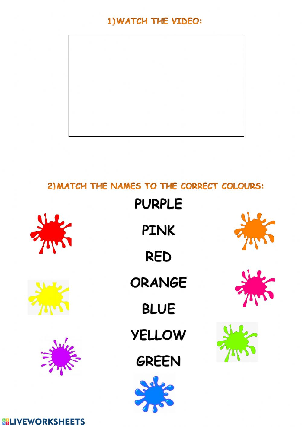 Rainbow Colours Worksheet