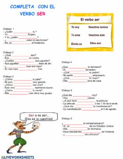 Interactive worksheet Verbo Ser Presente Indicativo