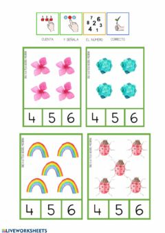 Interactive worksheet Conteo primaveral 4-5-6-7