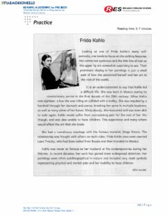 Interactive worksheet Frida Kahlo Reading