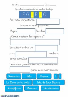 Interactive worksheet Egipto