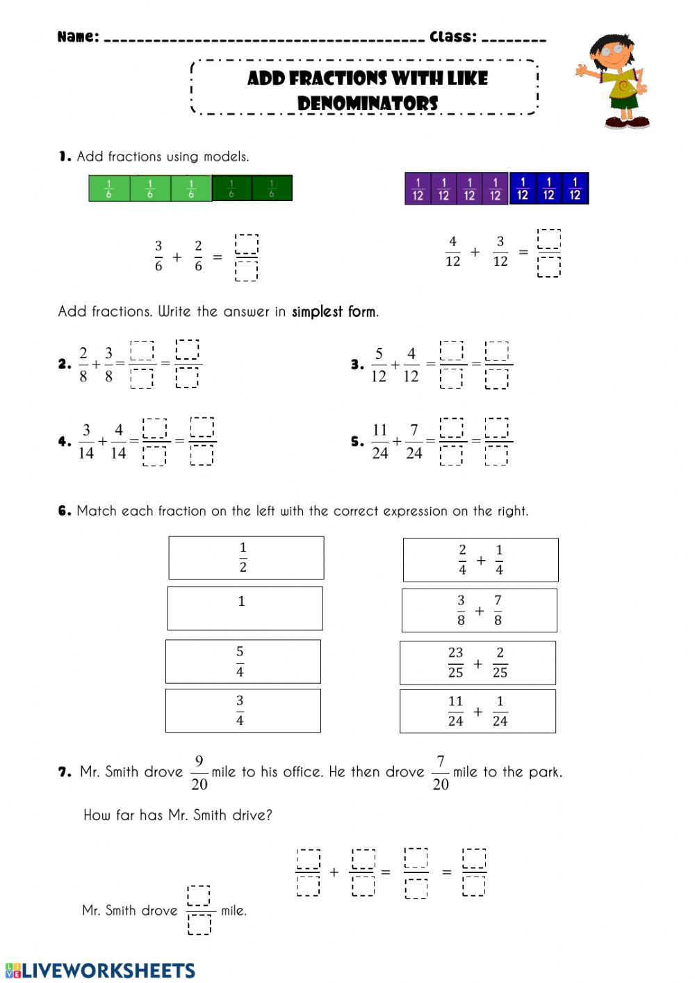 Add Fractions With Like Deominators Worksheet Adding fractions using models worksheets