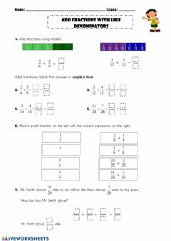 Interactive worksheet Add fractions with like deominators