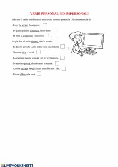 Interactive worksheet Verbi personali ed impersonali