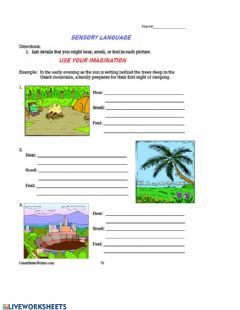 Interactive worksheet Sensory Language Use