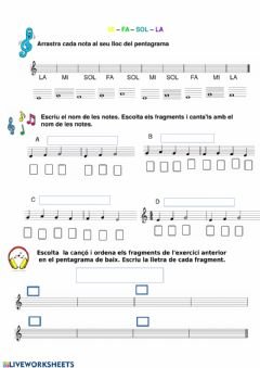 Interactive worksheet Mi - fa-sol - la