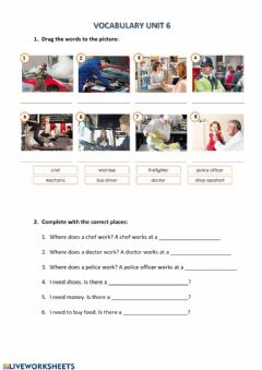 Interactive worksheet Proffessions and places