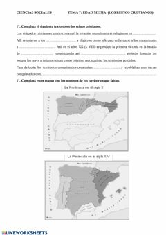 Interactive worksheet Edad Media - Los reinos cristianos