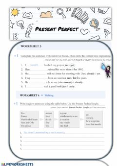 Ficha interactiva present perfect negative,questions and whQ