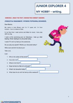 Interactive worksheet My hobby - email