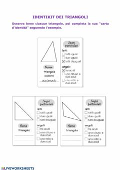 Interactive worksheet Identikit dei triangoli