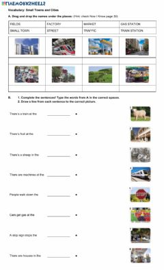Ficha interactiva Vocabulary: Small Towns and Cities