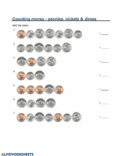 Interactive worksheet Counting Money - Pennies, Nickels, and Dimes