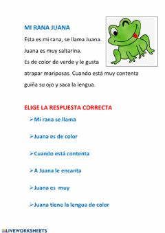 Interactive worksheet Mi rana Juana