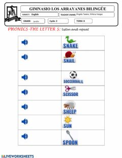 Interactive worksheet Letter s