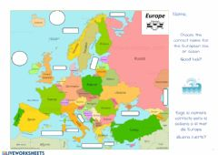 Ficha interactiva European oceans and seas