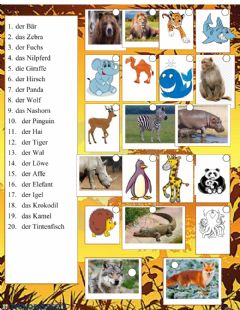 Interactive worksheet Tiere im Zoo