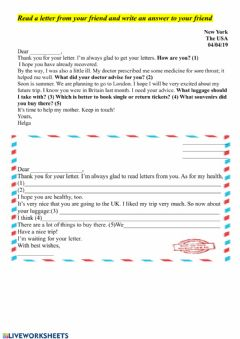 Interactive worksheet Write letter to your friend