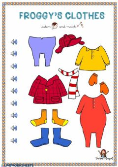 Interactive worksheet Froggy's clothes