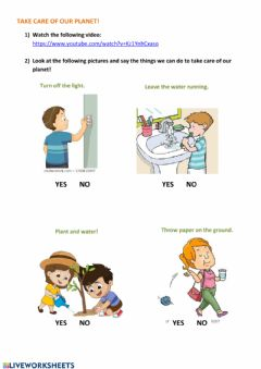 Interactive worksheet Take care of our planet!