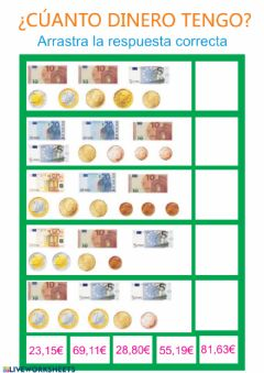 Interactive worksheet El euro