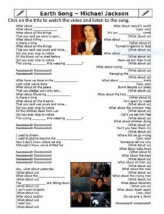 Interactive worksheet Earth Song by Michael Jackson