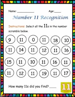 Interactive worksheet Number 11 Recognition