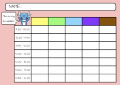 Interactive worksheet TIMETABLE - school subjects (4º)