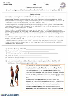 Interactive worksheet Placement test Acelelrado 1