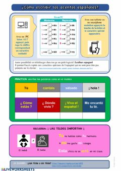 Interactive worksheet Caracteres especiales en español