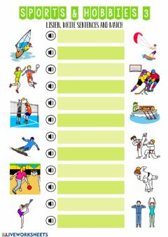 Interactive worksheet Sports and hobbies 3