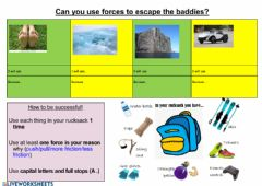 Interactive worksheet Escape with forces