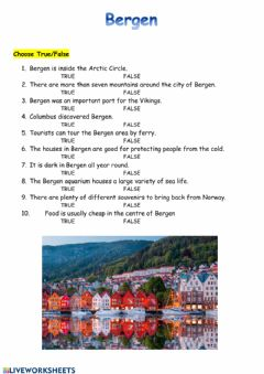 Interactive worksheet Bergen city