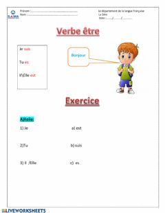 Interactive worksheet Verbe être 1